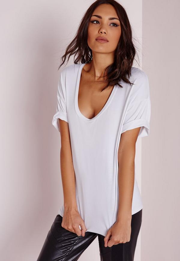 Scoop Neck T Shirt White