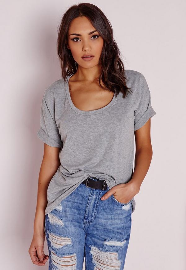 Scoop Neck T Shirt Grey