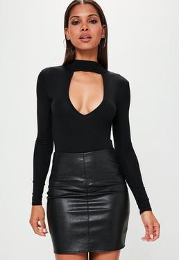 Black Choker Neck Plunge Bodysuit