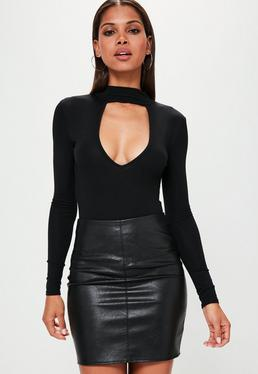 Black Choker Neck Plunge Bodysuit