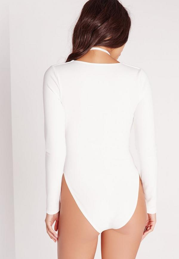 Harness Neck Long Sleeve Bodysuit White | Missguided