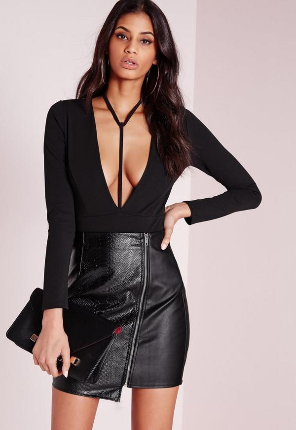 Harness Neck Long Sleeve Bodysuit Black