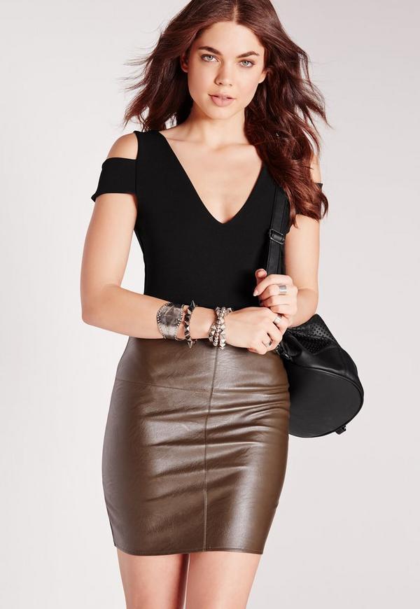 Tab Shoulder Bodysuit Black