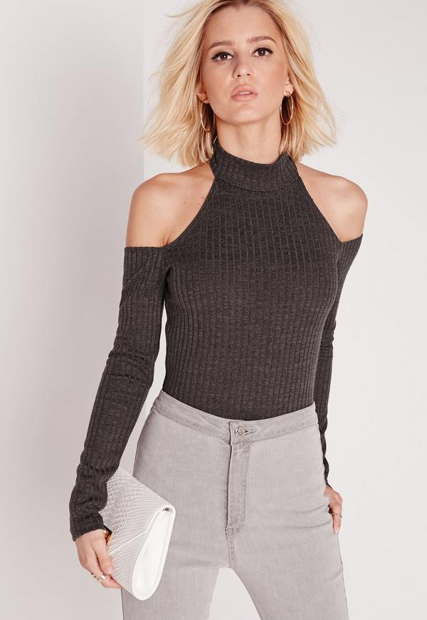 Cold Shoulder Ribbed Bodysuit Grey
