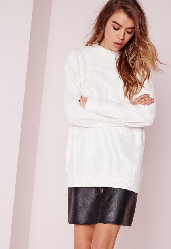 Ribbed Longline Sweatshirt White