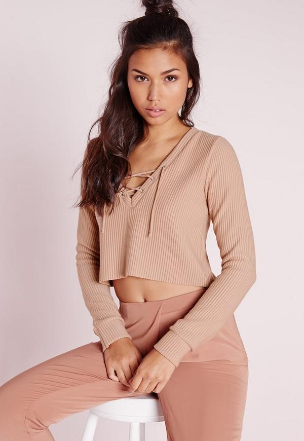 Ribbed Lace Up Sweatshirt Nude