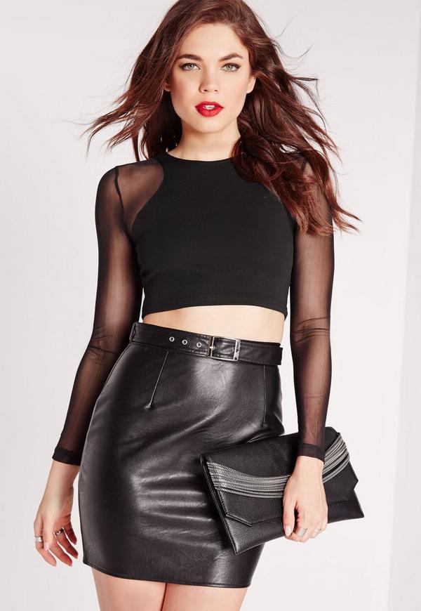 Mesh Long Sleeve Crop Top Black