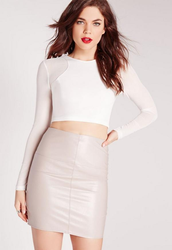 Mesh Long Sleeve Crop Top White