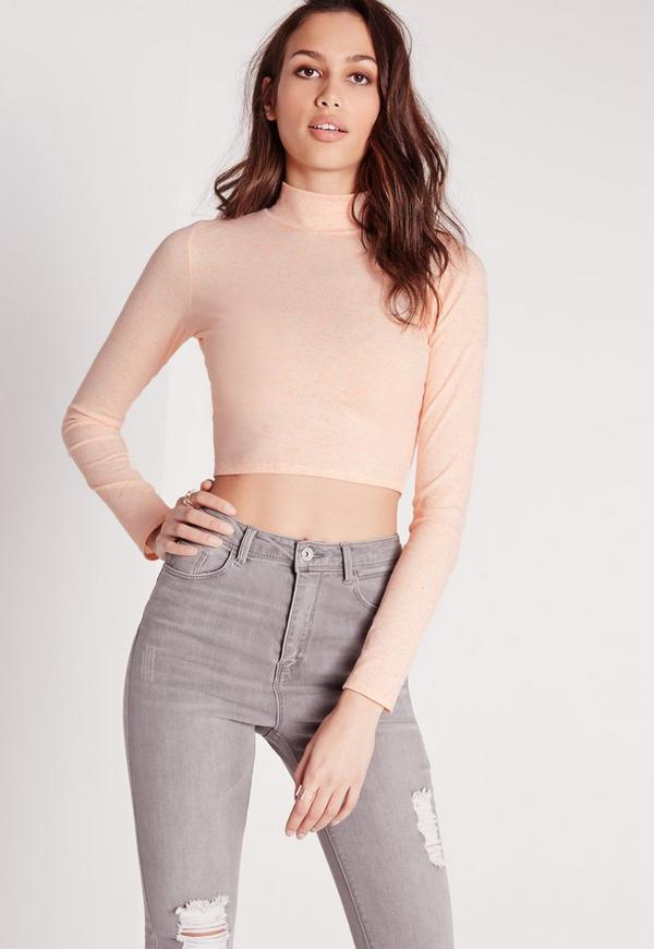 Turtle Neck Neppy Crop Top Nude