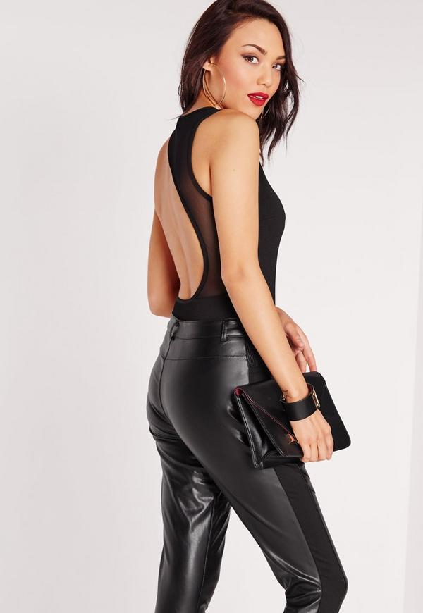 Cut Out Mesh Back Bodysuit Black