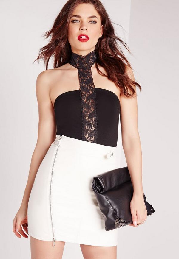 Lace Choker Jersey Bodysuit Black