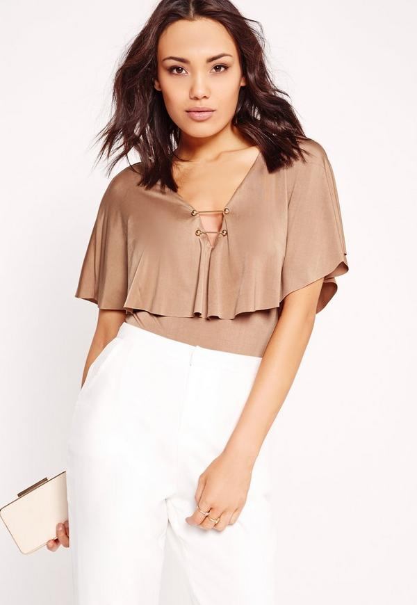Slinky Cape Metal Bar Bodysuit Camel