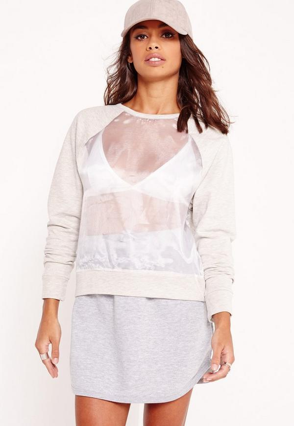sheer front panel sweatshirt grey