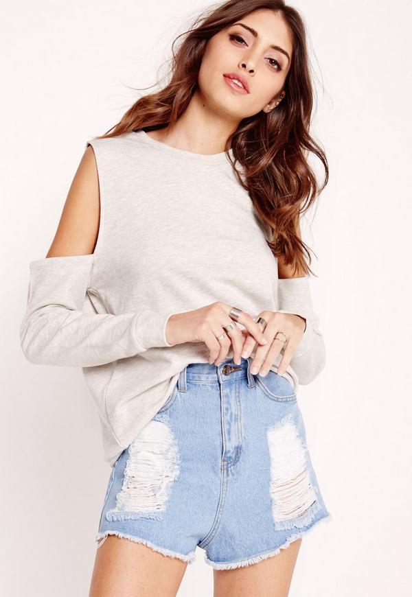 cold shoulder sweatshirt grey