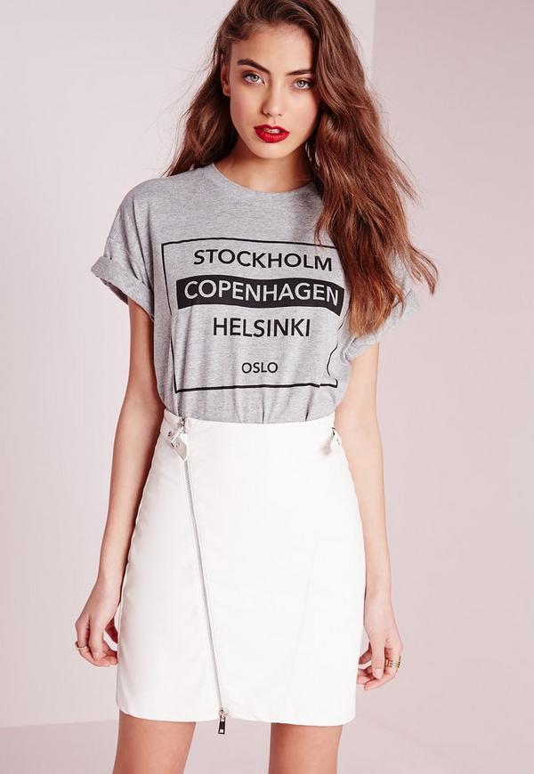 Stockholm Slogan T-Shirt Grey