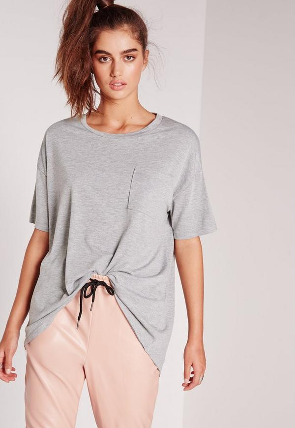 Pocket Front Oversize T-Shirt Grey