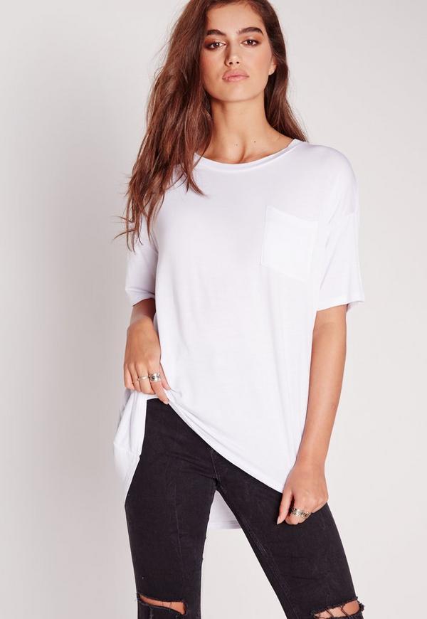 Pocket Front Oversize T-Shirt White