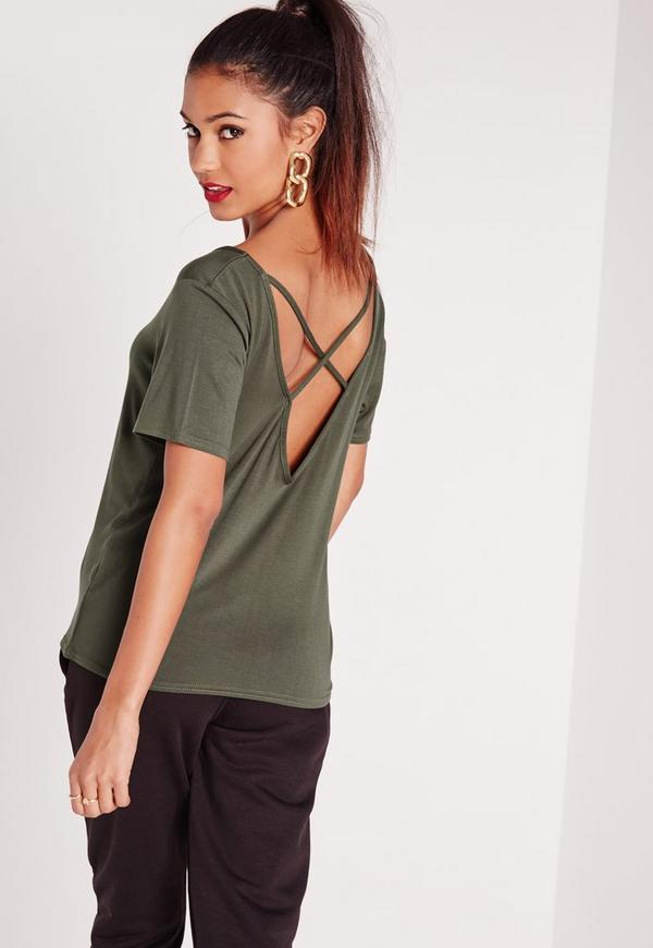 V-Neck Cross Strap Back T-Shirt Khaki
