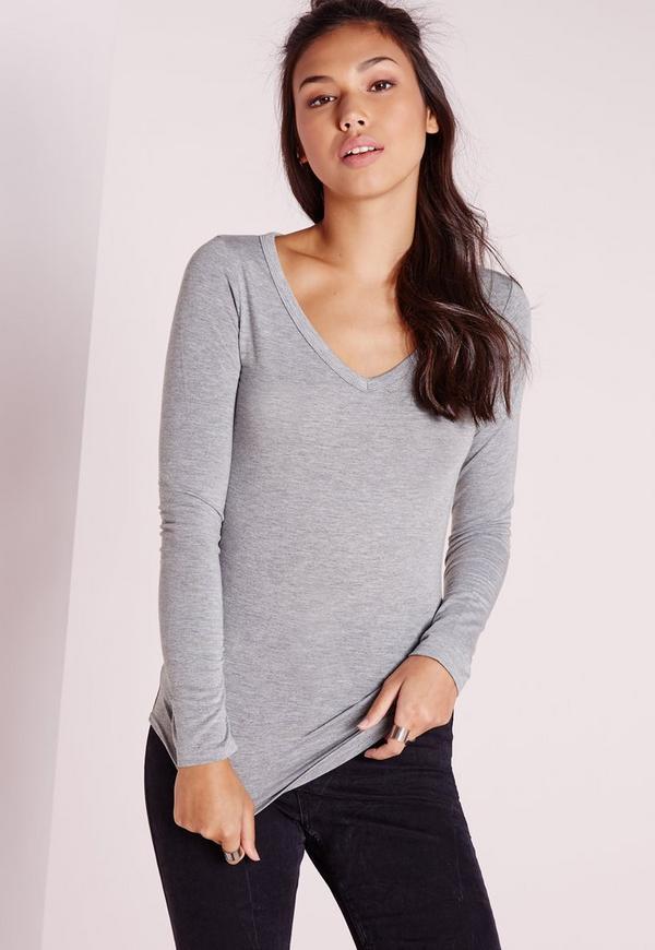 Basic Long Sleeve V Neck Top Grey