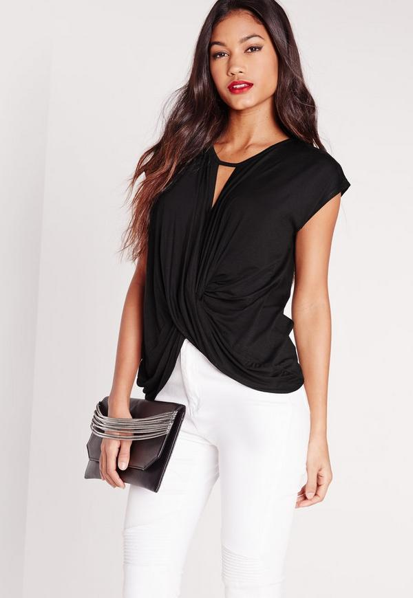 Knot Front Jersey Top Black