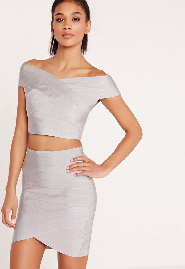 Premium Bandage Bardot Crop Top Grey