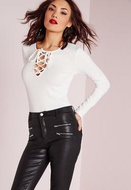 Lace Up Ribbed Top White