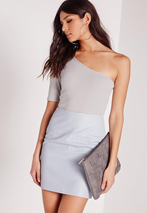One Shoulder Rib Bodysuit Grey