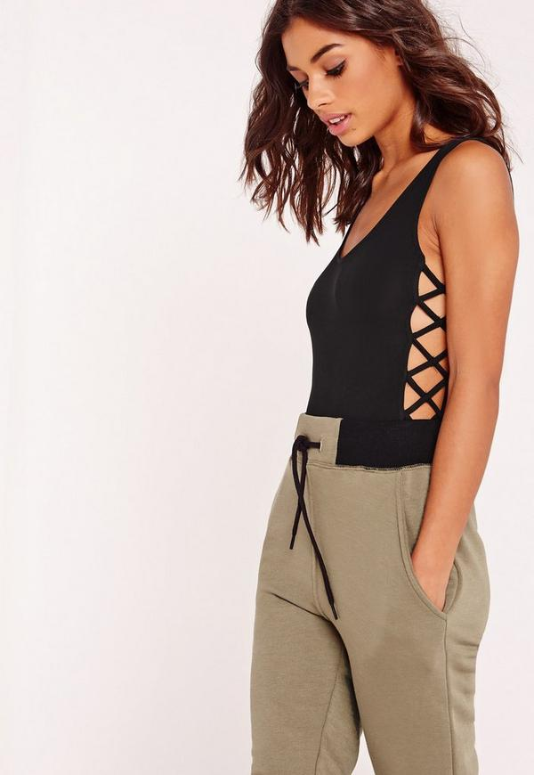 Lattice Exposed Sides Bodysuit Black