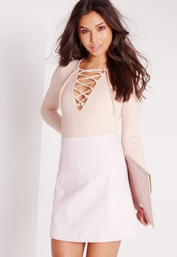 Ribbed Lace Up Front Long Sleeve Bodysuit Nude