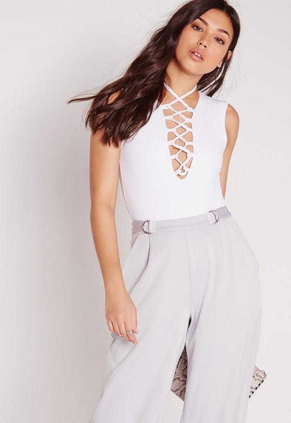 Ribbed Lace Up Front Bodysuit White