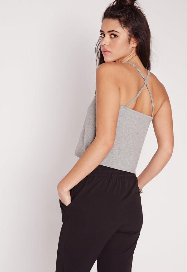 Strappy Knot Back Jersey Crop Top Grey