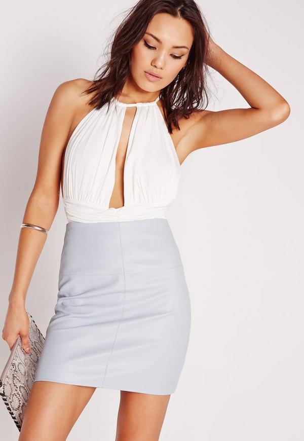 Slinky Plunge Bodysuit White