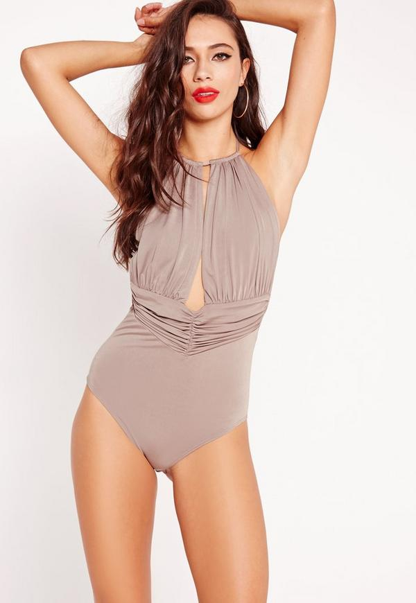Slinky Plunge Bodysuit Brown