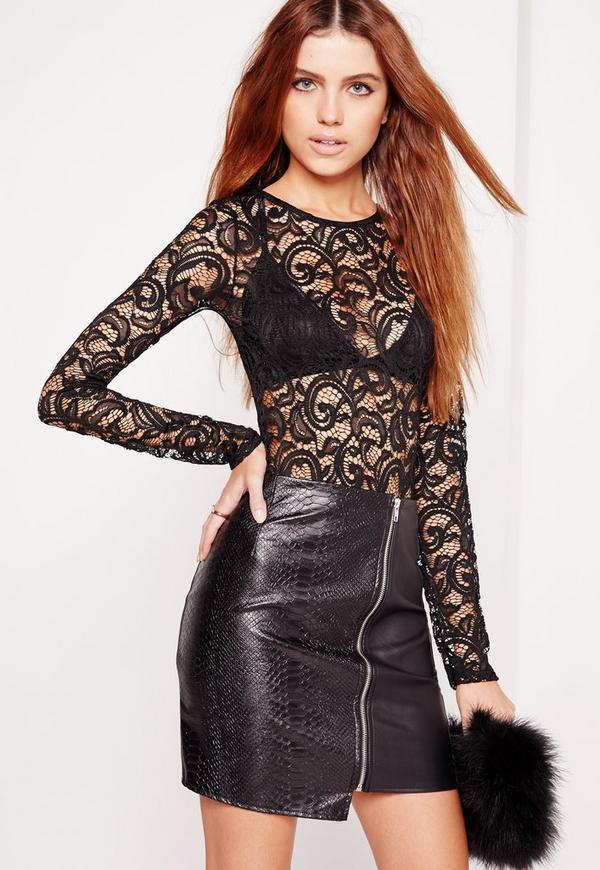 Lace Long Sleeve Bodysuit Black