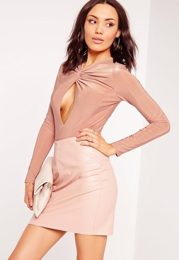 Slinky Twist Front Long Sleeve Bodysuit Pink