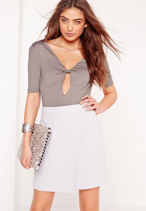Knot Front Short Sleeve Bodysuit Slate Grey