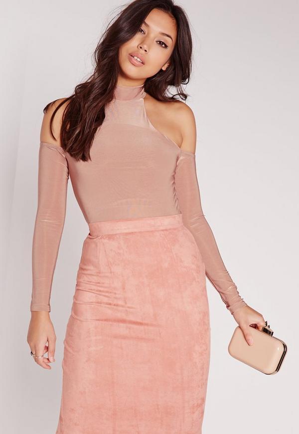 Slinky Cold Shoulder Bodysuit Pink