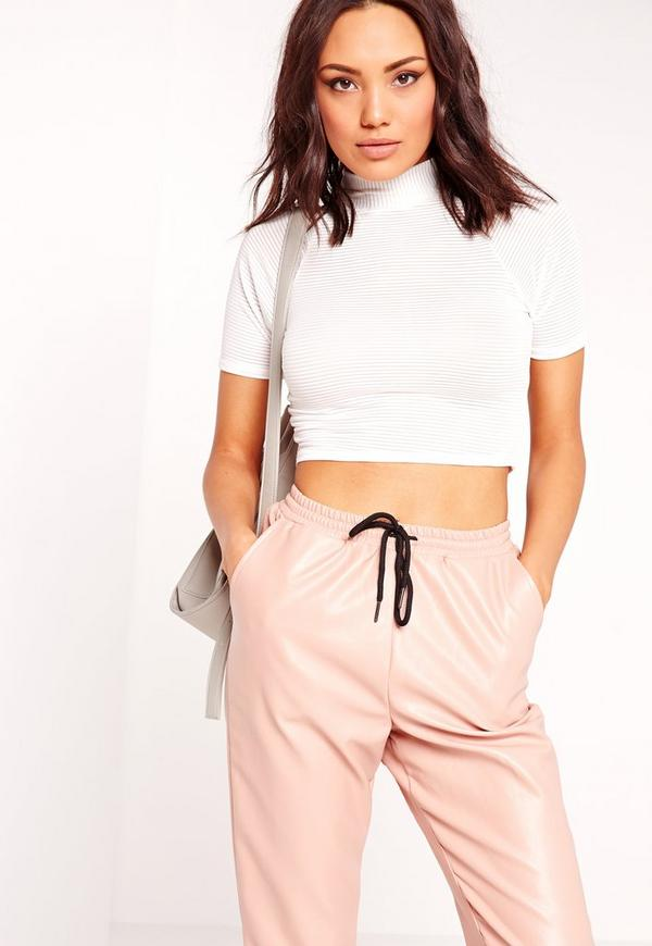 High Neck Sheer Stripe Crop White