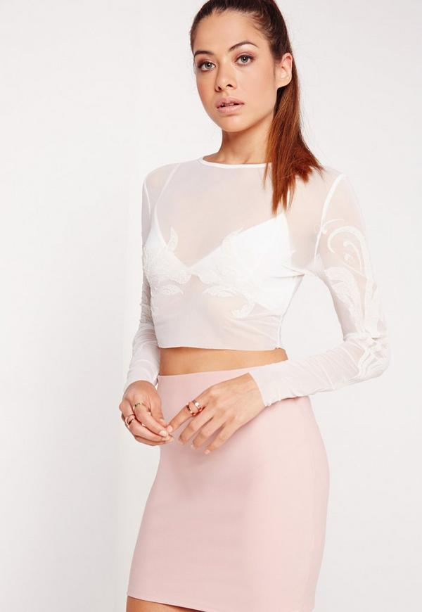 Mesh Beaded Crop Top White