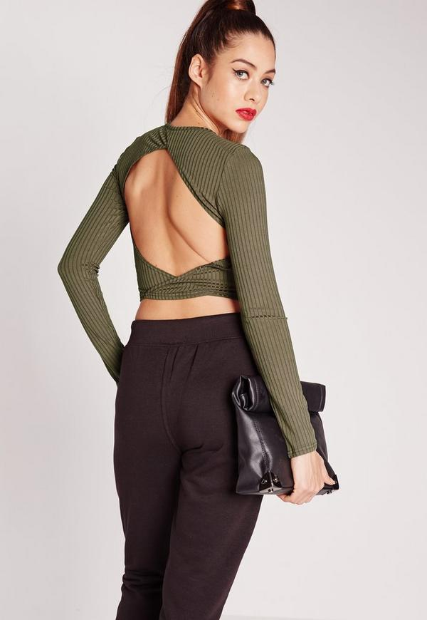 Rib Open Back Crop Top Khaki
