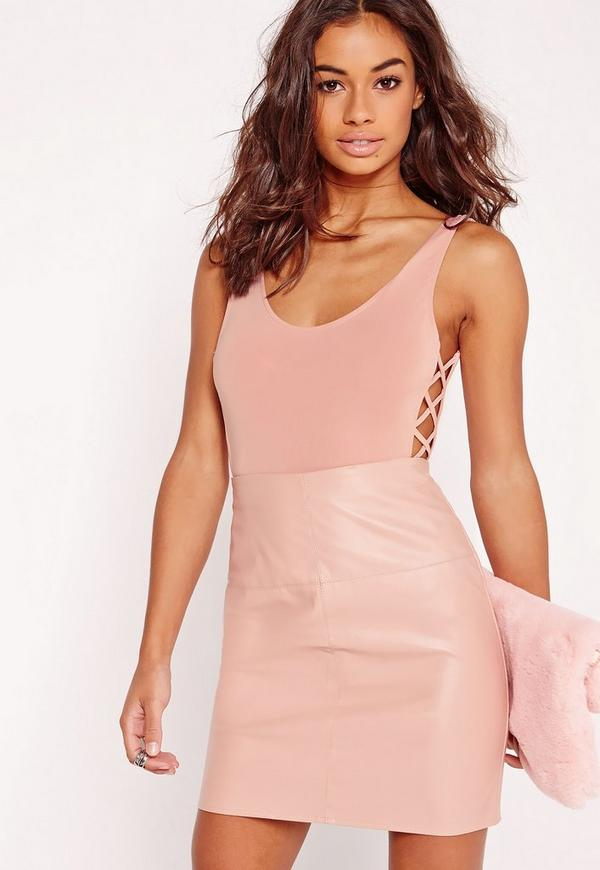 Lattice Side Bodysuit Pink