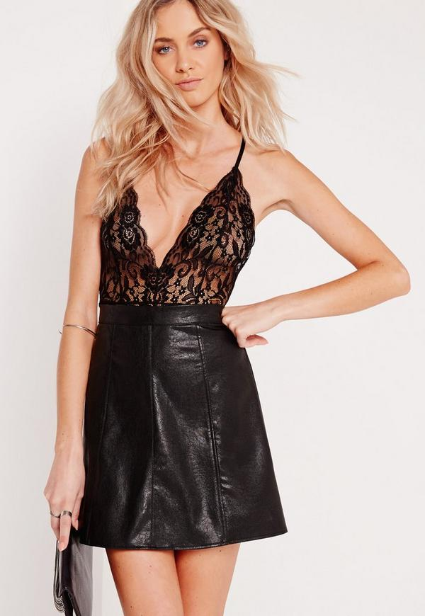 Sheer Lace Strappy Back Bodysuit Black
