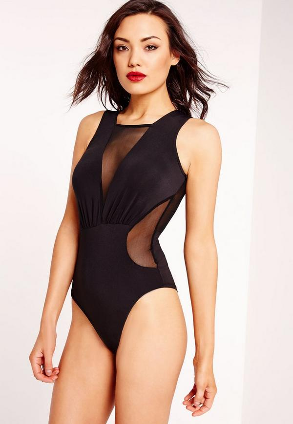 Mesh Panelled Plunge Bodysuit Black