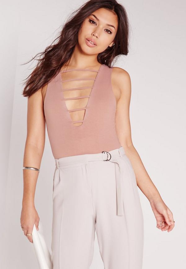Lattice Bar Front Bodysuit Pink