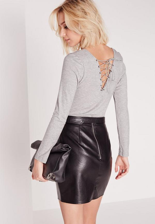 Casual Lace Up Back Ribbed Bodysuit Grey