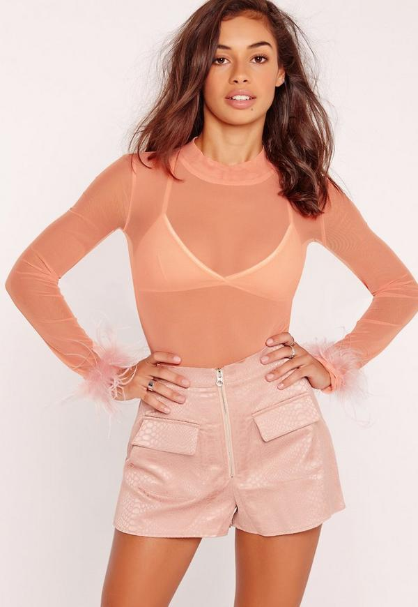 Mesh Fluffy Cuff Bodysuit Pink