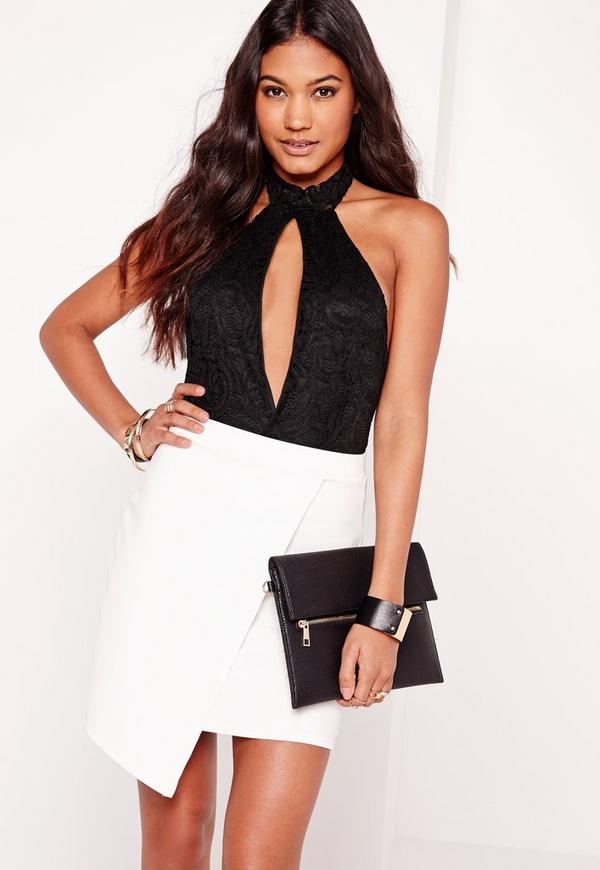 Choker Plunge Lace Bodysuit Black
