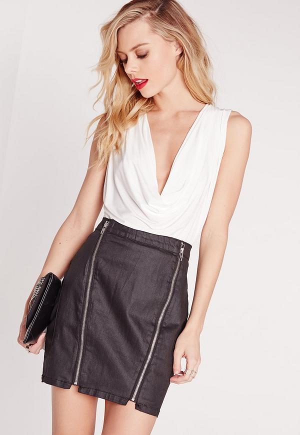 Slinky Cowl Neck Sleeveless Bodysuit White