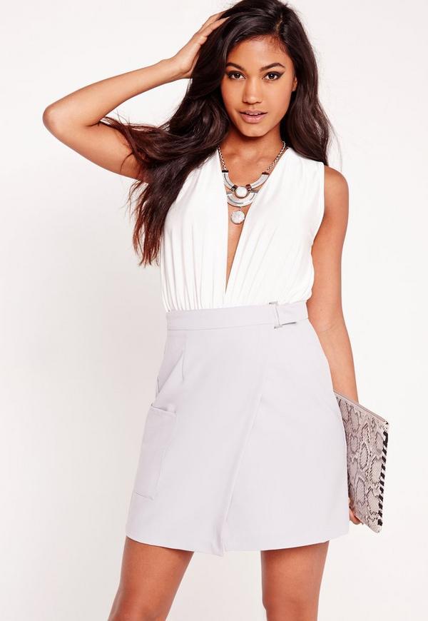 Slinky Deep Plunge Sleeveless Bodysuit White