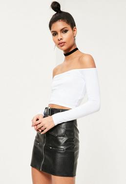 Long Sleeve Jersey Bardot Crop Top White